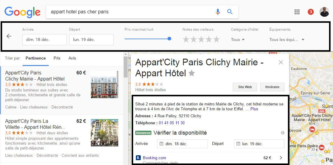 80 serp r sulatats google ou search engine result pages for Comparatif hotel pas cher
