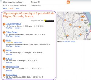 Résultats de Bing en localisé