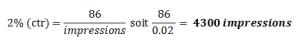 estimation affichages adwords