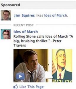 Nouvelle encart publicitaire Facebook