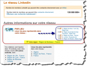 recherche sociale localisée chez linkedIn