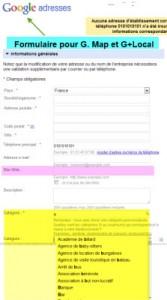 Formulaire Google Adresses