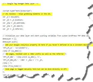 Extrait du code d'un Datalayer pour WP