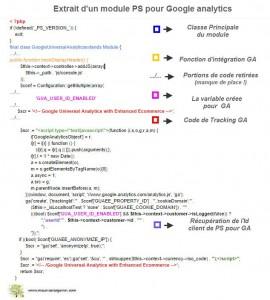 Extrait du module d'intégration du script GA