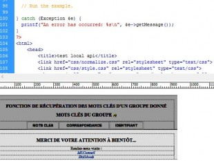 affichage html resultat requete via api
