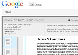 Signature du contrat TOS api Adwords