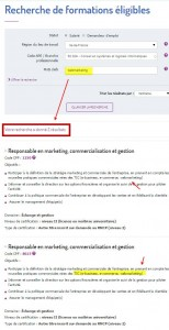 Recherche formation webmarketing cpf dans listing RNCP