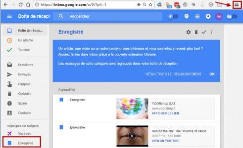 Fonctionnalité enregistrement inbox