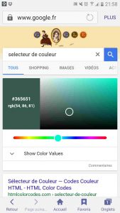 Le sélecteur de couleur