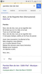 Paroles de chanson