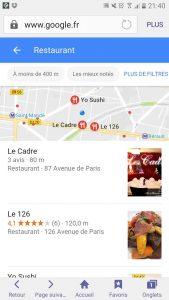 Serp restaurant sur mobile