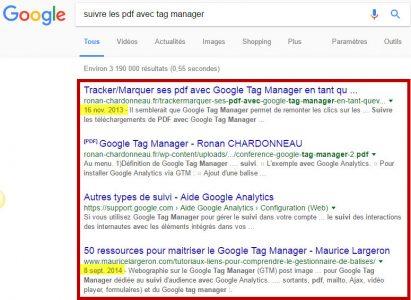 resultats sur tag manager dans google