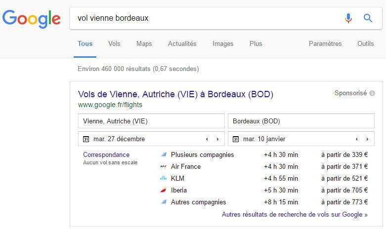 80 serp r sulatats google ou search engine result pages pour comprendre les r sultats de google - Google comparateur de vol ...