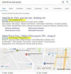 Exemple hotel intermédiés par booking et Trivago