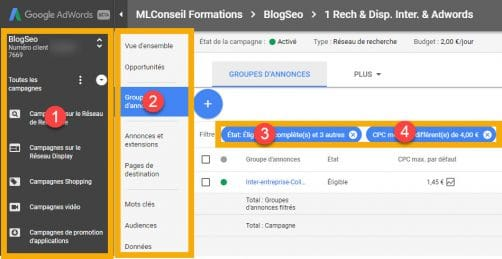 navigation arborescente pour la nouvelle interface google adwords