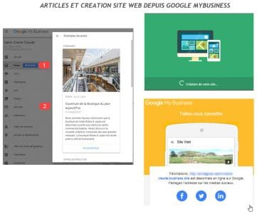 Google Mybusiness articles et site web