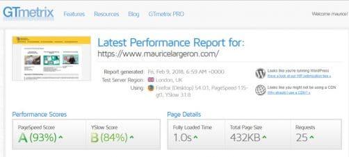 Temps de chargement site web avec Gt Metrix