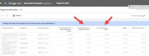 Pages de destination google ads rapports