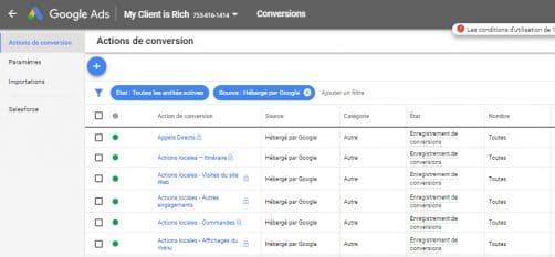 Actions de conversions locales google