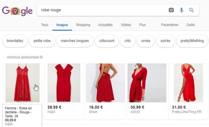 image robe rouge sponsorisée google