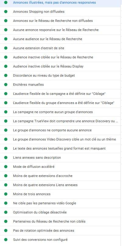 google ads editor liste des regles personnalisées