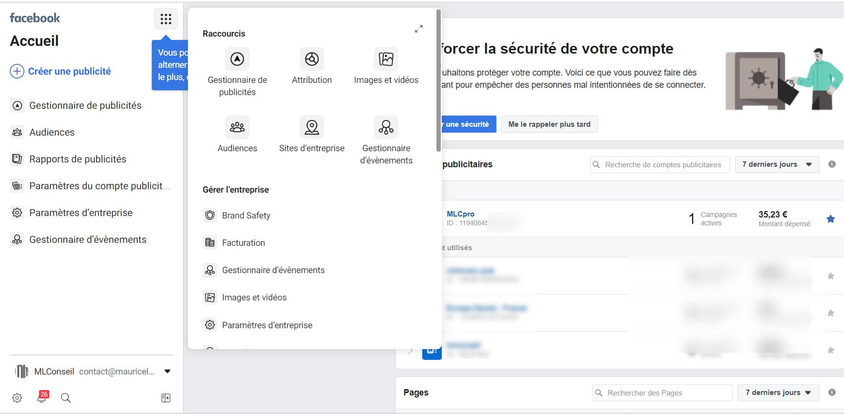 Accès raccourcis business manager facebook