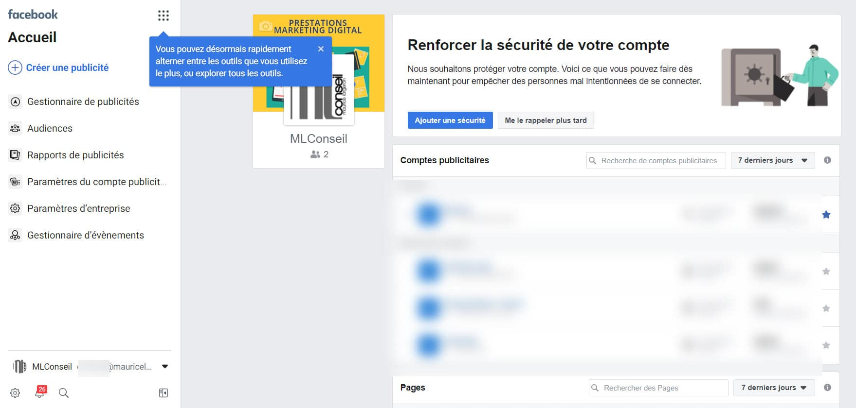 Facebook business manager ecran accueil