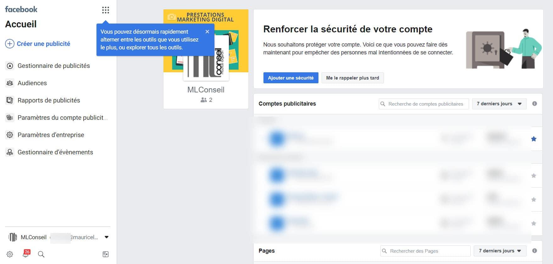 Facebook business manager ecran accueil
