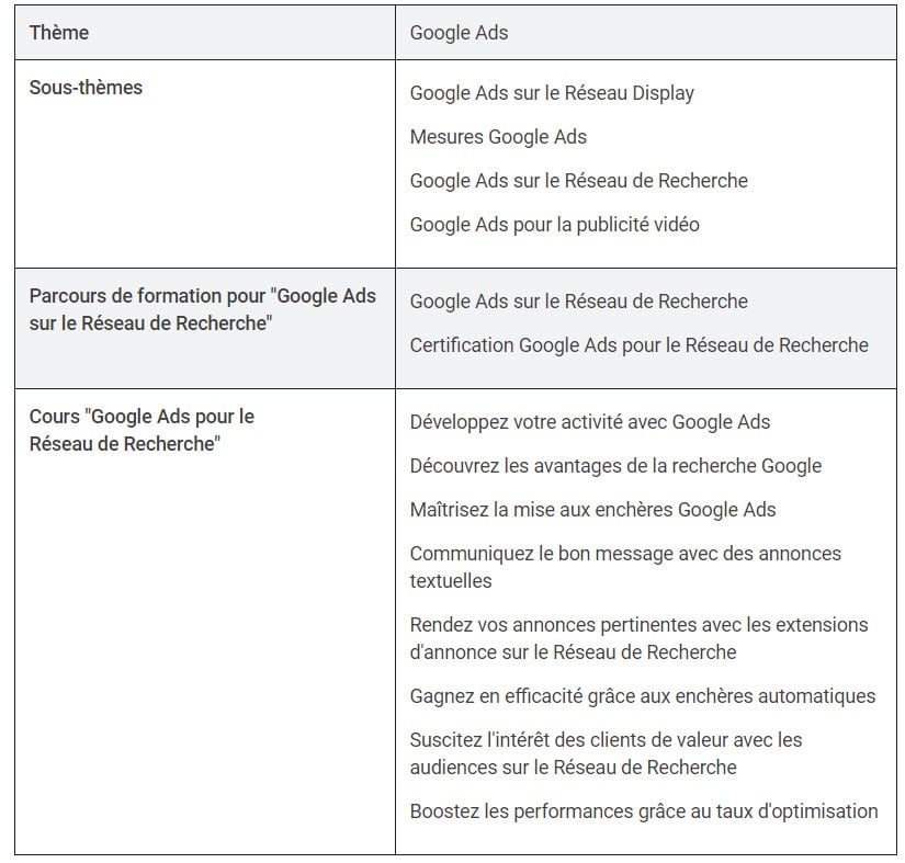Google ads sous parcours thématique skillshop