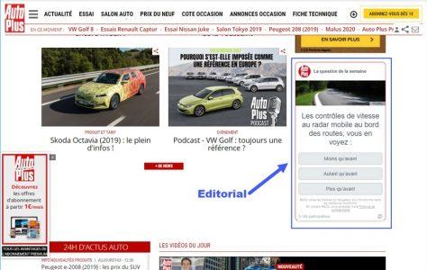 Format Editorial avec contenu non publicitaire