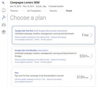 Etape de mise en production de la campagne google ads