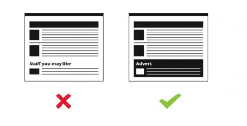 Passer la barrière des Adblocks : Mention claire de la publicité