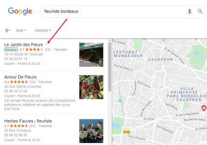 Annonces sur Google maps