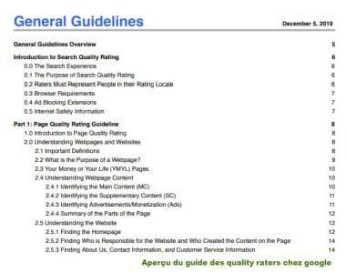Apercu du guide des quality raters chez google