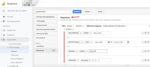 Séquence dans google analytics