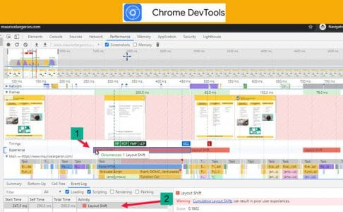 SWE selon Chrome dev tool