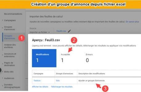 Création groupe annonces dans Google ads
