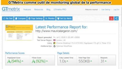 gtmetrix outil de monitoring global de la performance