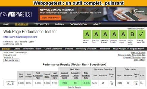 webpagetest scoring