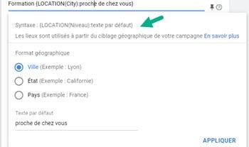 Balise Lieux google ads