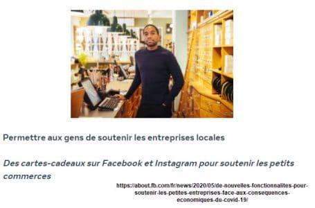 Facebook carte cadeau pour aider les commerces