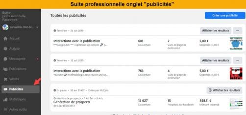 onglet Publicité BS Facebook