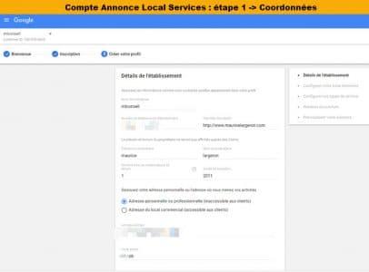 configuration du compte pour les Google ALS