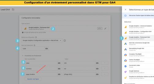 Configuration d'un event pour ga4 dans GTM