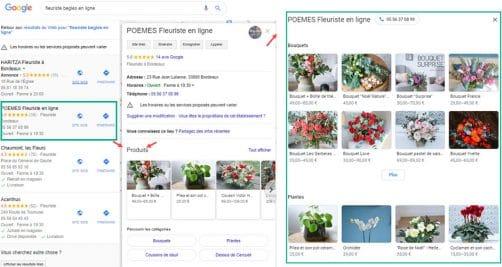 produits dans google my business