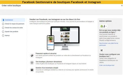 Boutiques Facebook et Instagram