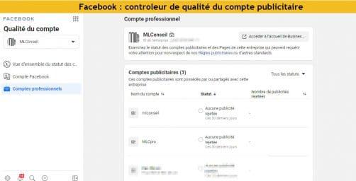 Facebook qualite du compte professionnel