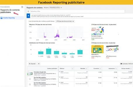 Facebook reportiing publicitaire