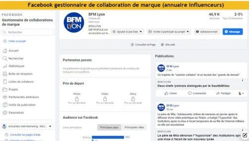 Gestionnaire de collaboration de marque facebook