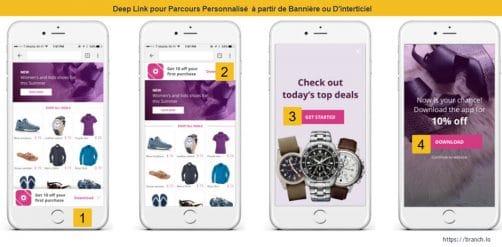 Parcours scénarios personnalisés app mobile deep link
